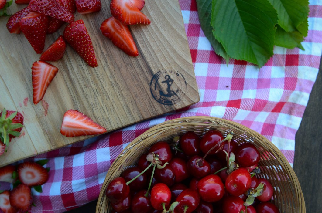 square board with strawberries & cherries-8